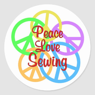 Peace Love Sewing Round Sticker