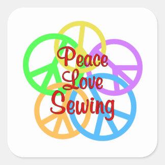 Peace Love Sewing Square Sticker
