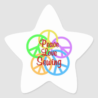 Peace Love Sewing Star Sticker