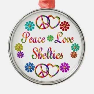 PEACE LOVE SHELTIES METAL ORNAMENT