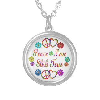 PEACE LOVE SHIH TZUS SILVER PLATED NECKLACE