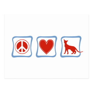 Peace Love Siamese Cats squares Postcard