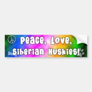 Peace Love Siberian Huskies Bumper Sticker