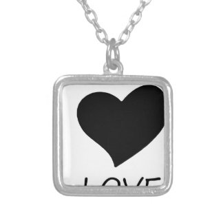 peace love silver plated necklace