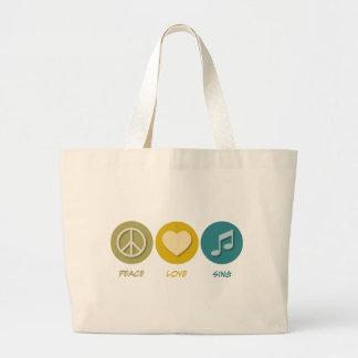 Peace Love Sing Large Tote Bag