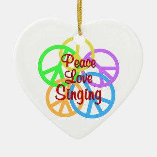 Peace Love Singing Ceramic Heart Ornament