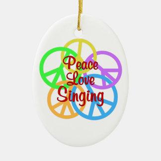 Peace Love Singing Ceramic Oval Ornament