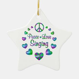 Peace Love Singing Ceramic Star Ornament