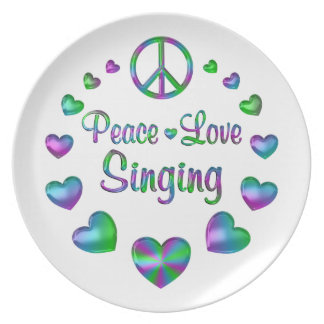 Peace Love Singing Plate