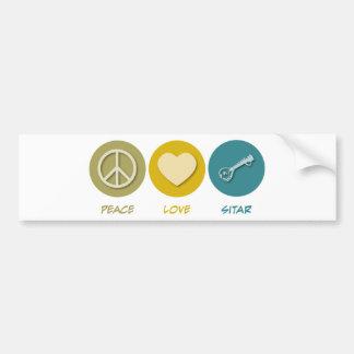 Peace Love Sitar Bumper Sticker