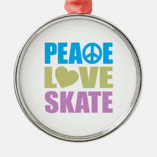 Peace Love Skate Metal Ornament