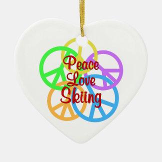Peace Love Skiing Ceramic Heart Ornament