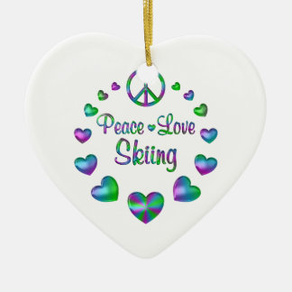 Peace Love Skiing Ceramic Ornament