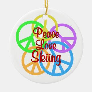 Peace Love Skiing Round Ceramic Ornament