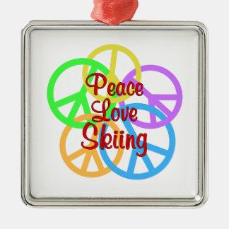 Peace Love Skiing Silver-Colored Square Ornament