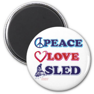 Peace-Love-Sled-on-Dark 2 Inch Round Magnet