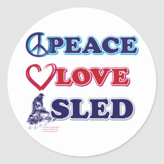 Peace-Love-Sled-on-Dark Classic Round Sticker