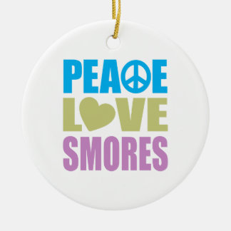 Peace Love Smores Ceramic Ornament