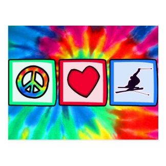 Peace, Love, Snow Skiing Postcard