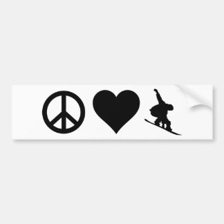Peace Love Snowboarding Bumper Sticker