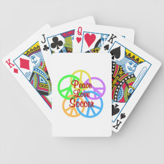 Peace Love Soccer Bicycle Playing Cards