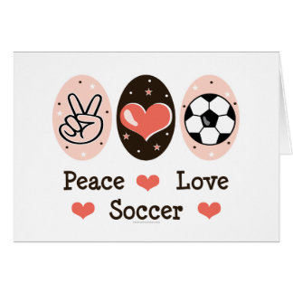 Peace Love Soccer Blank Note Card
