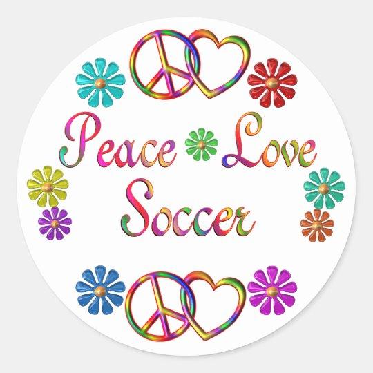 PEACE LOVE SOCCER CLASSIC ROUND STICKER