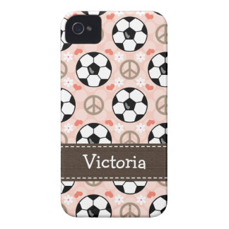 Peace Love Soccer iPhone 4 4s Case-Mate Cover