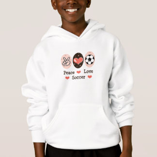 Peace Love Soccer Kids Hooded Sweatshirt