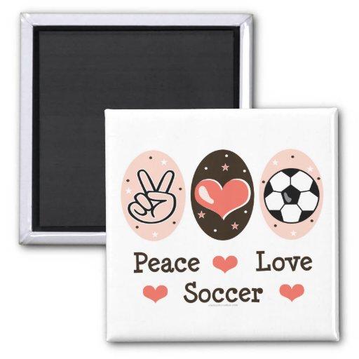 Peace Love Soccer Magnet