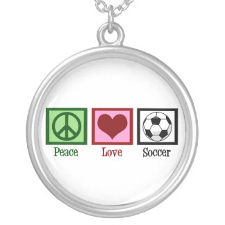 Peace Love Soccer Silver Plated Necklace