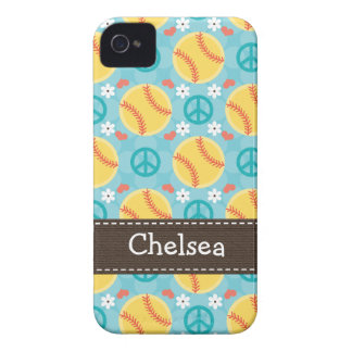 Peace Love Softball iPhone 4 4s Case-Mate Cover