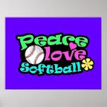 Peace, Love, Softball Poster