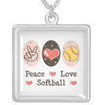 Peace Love Softball Sterling Silver Necklace