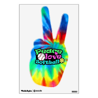 Peace, Love, Softball Wall Sticker