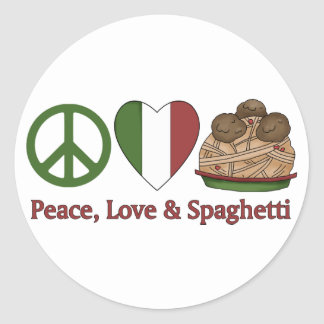 Peace, Love & Spaghetti Classic Round Sticker