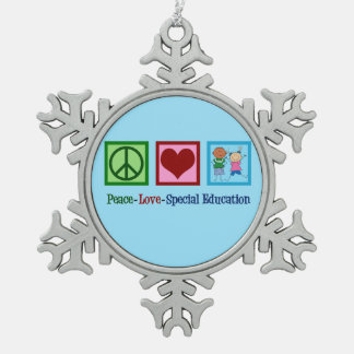 Peace Love Special Education Teacher Snowflake Pewter Christmas Ornament