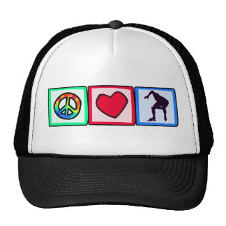 Peace, Love, Speed Skating Mesh Hats