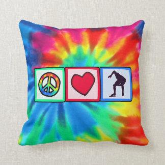Peace, Love, Speed Skating Throw Pillows
