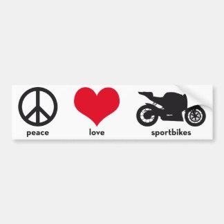 Peace • Love • Sportbikes Bumper Sticker Car Bumper Sticker