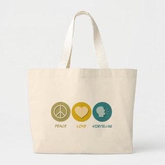 Peace Love Storytelling Large Tote Bag