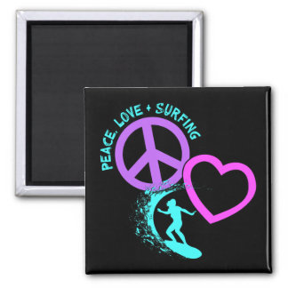 PEACE-LOVE-SURFING MAGNET
