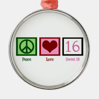 Peace Love Sweet 16 Silver-Colored Round Ornament