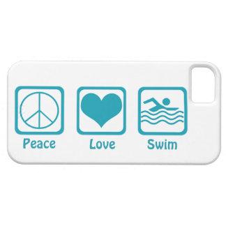 Peace, Love, Swim-Blue iPhone 5 Case