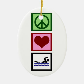 Peace Love Swim Ceramic Ornament