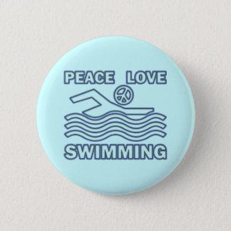 PEACE LOVE SWIMMING 2 INCH ROUND BUTTON