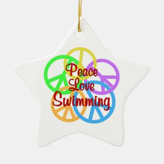 Peace Love Swimming Ceramic Star Ornament