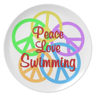 Peace Love Swimming Dinner Plate