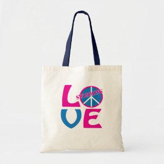 Peace, Love, Swimming Girls Tote Bag