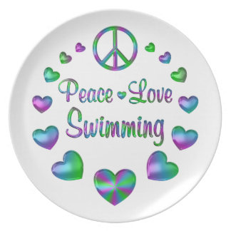 Peace Love Swimming Plate